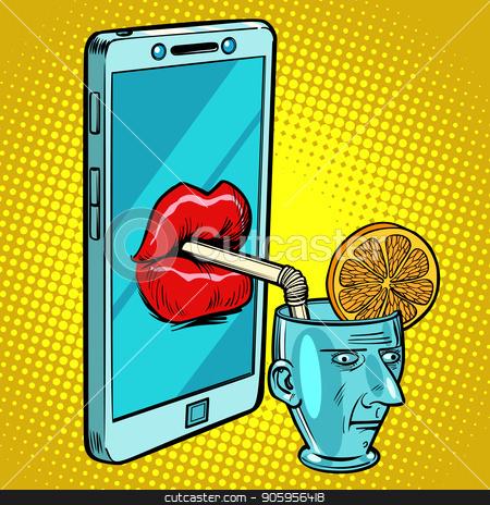Smartphone drinks human brain stock vector clipart, Smartphone drinks human brain. Comic cartoon pop art retro vector illustration drawing by rogistok