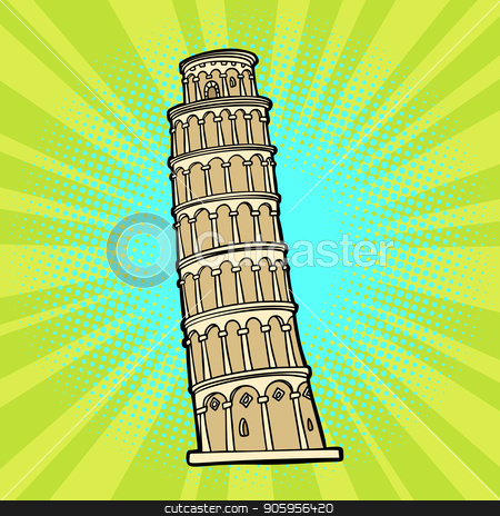 tower of Pisa. Italy tourism stock vector clipart, tower of Pisa. Italy tourism. Comic cartoon pop art retro vector illustration drawing by rogistok