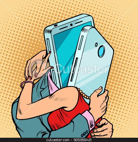 virtual date man and woman hugging. Loving couple stock vector clipart, virtual date man and woman hugging. Loving couple. meeting via smartphone. Comic cartoon pop art retro vector illustration drawing by rogistok