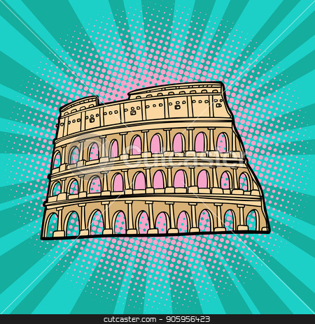 Coliseum. Rome Italy. Tourism and travel stock vector clipart, Coliseum. Rome Italy. Tourism and travel. Comic cartoon pop art retro vector illustration drawing by rogistok
