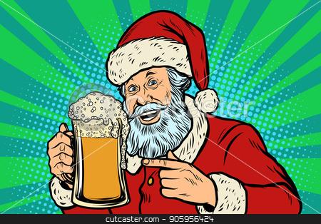 Santa Claus with a mug of beer foam. Christmas and New year stock vector clipart, Santa Claus with a mug of beer foam. Christmas and New year. Comic cartoon pop art retro vector illustration drawing by rogistok