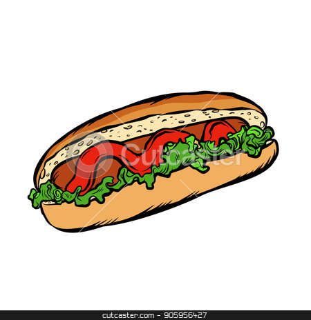 hot dog salad ketchup isolate on a white background stock vector clipart, hot dog salad ketchup. isolate on a white background. Comic cartoon pop art retro vector illustration drawing by rogistok