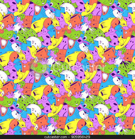 Bright background with fantastic creatures. stock vector clipart, Bright background with fantastic creatures. Seamless pattern with fantazy animals. olored repeating pattern for the background of packaging paper, textiles, websites, wallpaper and other patterned by Heliburcka
