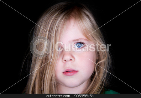Girl with messy hair stock photo, Young girl looking at the camera with messy hair by txking
