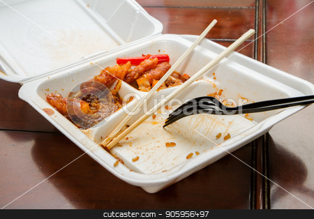 Chinese food in a takeout box stock photo, Leftovers from some chinese food that was for dinner by txking