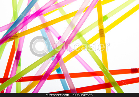 Straws in random abstract shapes stock photo, Drinkin straws isolated against a white background while being backlit by txking