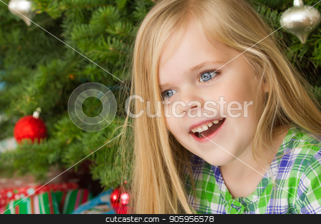 happy christmas time stock photo, Big smile at christmas after she woke up by txking