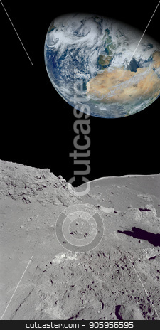 Looking at the earth from our moon stock photo, Image of the earth from a rocky ground that could be the moon. parts of image furnished by NASA by txking