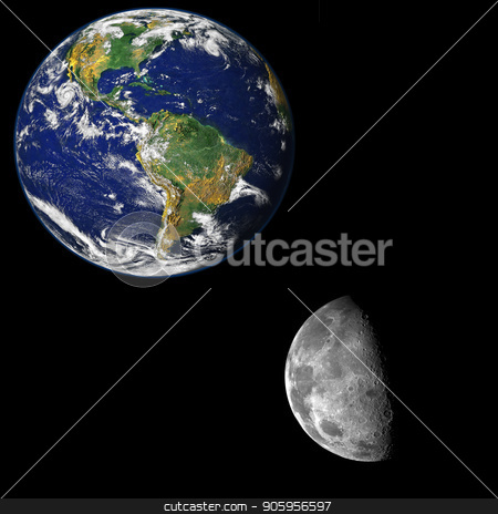 The moon near the earth stock photo, Image showing a picture of the moon close to the earth. Elements of this image furnished by NASA by txking