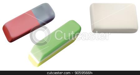 School Eraser Set stock vector clipart, School Eraser Set Isolated on White Background - Detailed Illustration, Vector by derocz