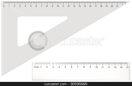 Two Transparent Rulers stock vector clipart, Two Transparent Rulers - Long and Triangle Ruler Illustration Isolated on White Background, Vector by derocz