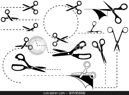 Scissors with Cut Lines stock vector clipart, Scissors with Cut Lines - Black and White Icons or Symbols for Your Commercial Use, Vector Illustration by derocz