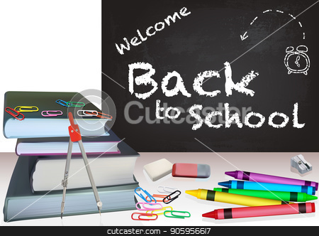 Background Back to School stock vector clipart, Background Back to School with Books and Colorful School Equipment - Detailed Illustration, Vector Graphics by derocz