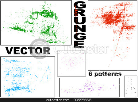 Vector Grunge Patterns Set stock vector clipart, Six Vector Grunge Patterns - Design Element for Your Abstract Background Illustration, Vector by derocz