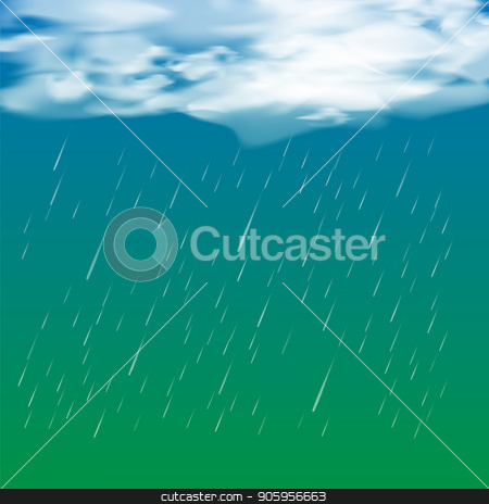 Rain Drops and Cloud stock vector clipart, Rain Drops and Cloud on Blue Green Gradient Background by valeo5