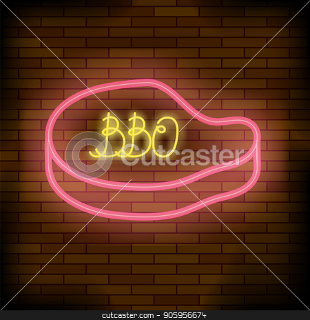 Barbeque Pub Neon Colorful Sign stock vector clipart, Barbeque Pub Neon Colorful Sign on Dark Brick Background by valeo5
