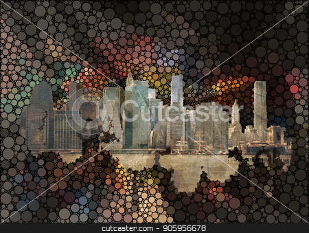 Manhattan stock photo, New York on abstract background. by Bruce Rolff