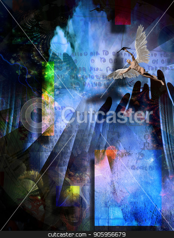 Angel and Prays stock photo, Surreal composition. Praying hands, naked man with wings represents angel. Ancient script on the background by Bruce Rolff