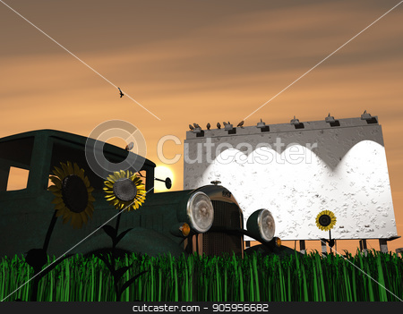 Old rusting truck and billboard stock photo, Old rusting truck and billboard in green field by Bruce Rolff