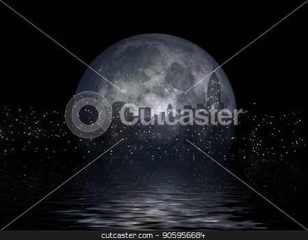 Manhattan Full Moon stock photo, New York city silhouettes reflects in the moon. 3D rendering by Bruce Rolff