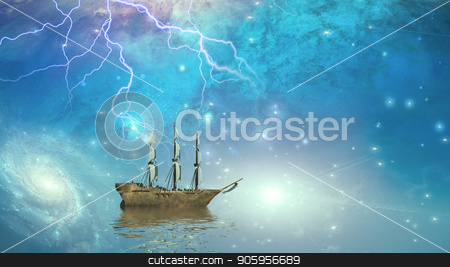 Sailing ship in starry sky stock photo, Sailing ship sails through the stars by Bruce Rolff
