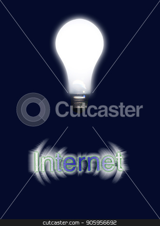 Internet Idea stock photo, Glowing light bulb represents idea. Internet by Bruce Rolff