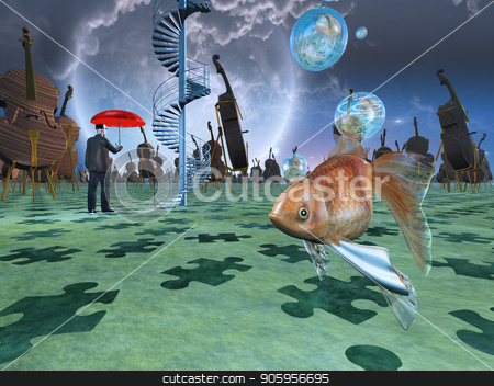 Surreal Dream Land stock photo, Surreal scene with various eelements. Violins and gold fish. by Bruce Rolff