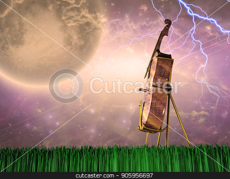Cello in dream like landscape stock photo, Cello in stormy landscape. Giant moon in bright sky by Bruce Rolff
