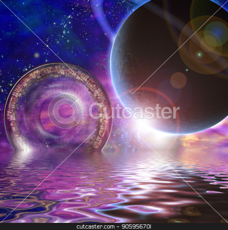The Colony Ship stock photo, Huge City Multi-Generational City Ship Encounters New Planet by Bruce Rolff