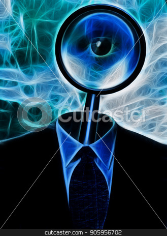 Magnify Metaphoric Mind stock photo, Metaphor. Magnify Glass in Suit by Bruce Rolff