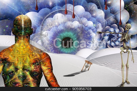 The Eye of God. Time Travel stock photo, Man with weird eyes on body stands in surreal desert with hourglass and watchful eye. Skeleton points to the Eye. by Bruce Rolff