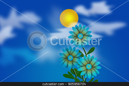 Daisies Illustration stock photo, Cartoonish illustration. Daisies and Sun in cloudy sky by Bruce Rolff