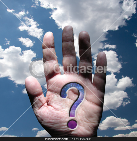 Hand with question mark stock photo, Hand with question mark and sky by Bruce Rolff