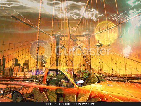 Brooklyn bridge and yellow cab stock photo, Surreal digital art. Yellow cab on the Brooklyn bridge. Graffiti elements. Full moon in the sky. by Bruce Rolff