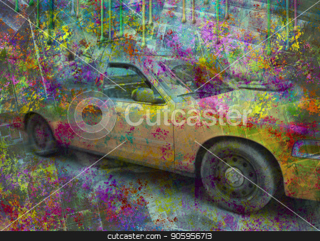 New York Taxi  stock photo, New York yellow cab taxi. Abstract colorful background by Bruce Rolff