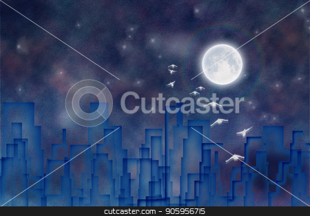 Night city silhouettes stock photo, Night city silhouettes. 3D rendering by Bruce Rolff