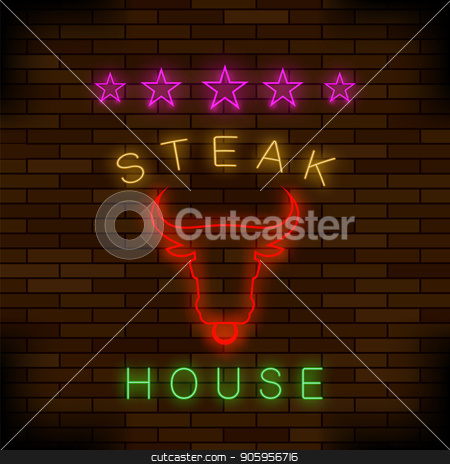 Steak House Neon Colorful Sign stock vector clipart, Steak House Neon Colorful Sign on Dark Brick Background by valeo5