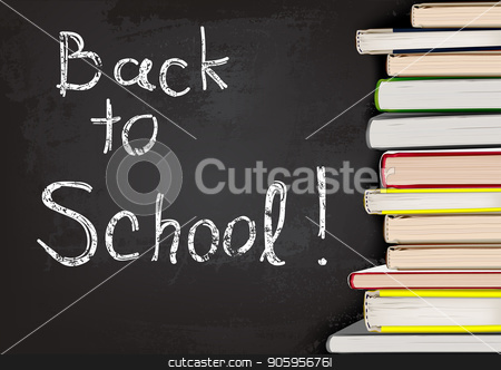 Back to School Written on Chalkboard with Books stock vector clipart, Back to School Written on Chalkboard with Books - Background Illustration for Your Commercial Use, Vector by derocz