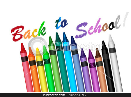 Back to School with Crayons stock vector clipart, Back to School Concept with Colorful Crayons on White Background - Graphics Illustration, Vector by derocz