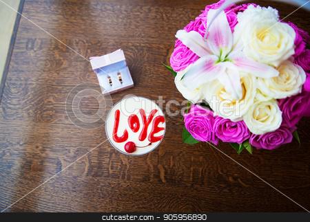 Valentine's Day dessert with the words love and cherries stock photo, Valentine's Day dessert with the words love and cherries. by Sergiy Artsaba