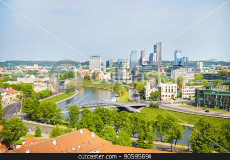 Top view of the old city and the new modern houses. Vilnius, Lithuania stock photo, Top view of the old city and the new modern houses. Vilnius, Lithuania. by Sergiy Artsaba