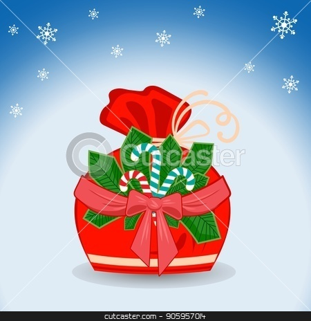 Winter sack with stripe branch with red bow and ribbon, sweet candy and snowflakes on blue background with light effect stock vector clipart, Winter sack with stripe branch with red bow and ribbon, sweet candy and snowflakes on blue background with light effect, projector ray and shining halo. For design of Christmas or New Year by Heliburcka
