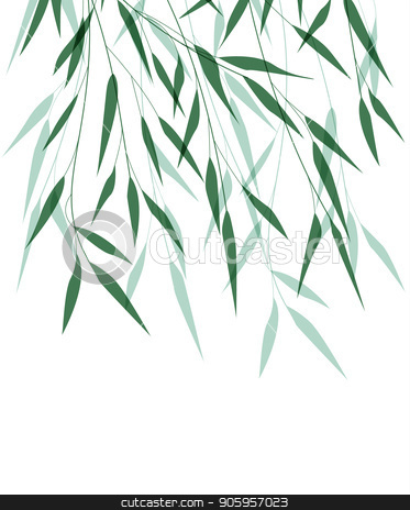 Bamboo green leaf stock vector clipart, Vector illustration of Bamboo leaf. Natural background with green leaves by Miroslava Hlavacova