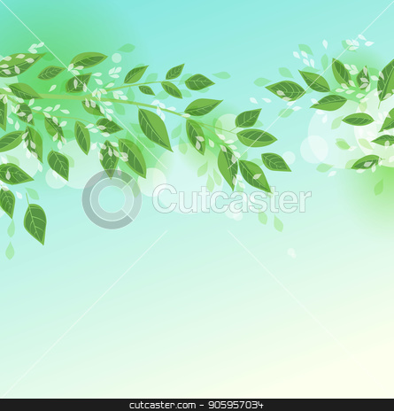 Green tree leaves stock vector clipart, Vector illustration Natural background with green leaves. Fresh green tree leaves by Miroslava Hlavacova