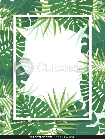 Palm green leaves stock vector clipart, Vector illustration of natural background with palm green leaves. Exotic green tree leaves by Miroslava Hlavacova