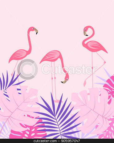 Palm leaves and flamingo stock vector clipart, Vector illustration of natural background with palm leaves and flamingo. Exotic green tree leaves by Miroslava Hlavacova