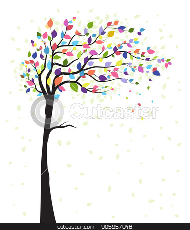 Tree and colorful leaves stock vector clipart, Vector illustration of a natural background with tree and colorful leaves. Autumn by Miroslava Hlavacova