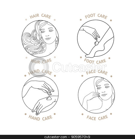 Face, hand, foot and hair Care. Vector. stock vector clipart, Face, hand, foot and hair Care. SPA theme vector illustration with set of emblem. Black line isolated on white.  Badge template. by VeYe