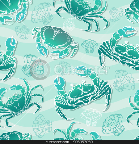 Seamless pattern  with crabs and shell. Vector illustration. stock vector clipart, Seamless pattern marine ornament with crabs, shell and waves on light blue background. Vector illustration. by VeYe