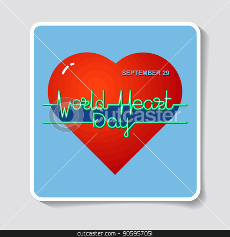 World Heart Day. Vector illustration. stock vector clipart, World Heart Day card. Vector illustration with heart and text heartbeat, electrocardiogram. by VeYe